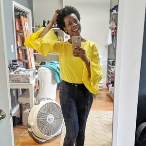 Zara yellow bell sleeve top